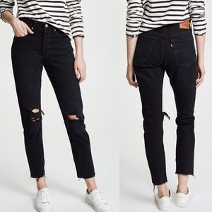 Levi's 501 Black Listed Distressed High Rise Jeans